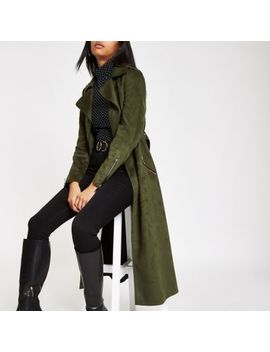 Khaki Faux Suede Belted Trench Coat by River Island