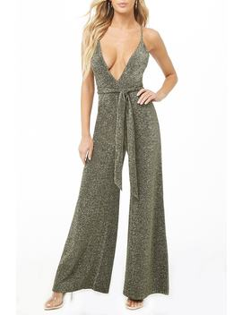 Plunging Belted Metallic Jumpsuit by Forever 21