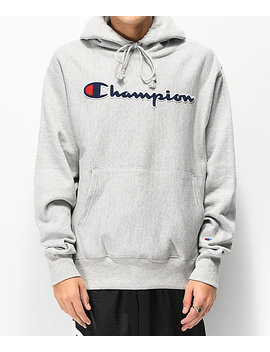 Champion Reverse Weave Chenille Logo Grey Hoodie by Champion