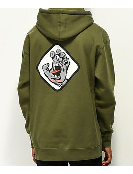 Santa Cruz Screaming Hand Badge Green Hoodie by Santa Cruz Skate