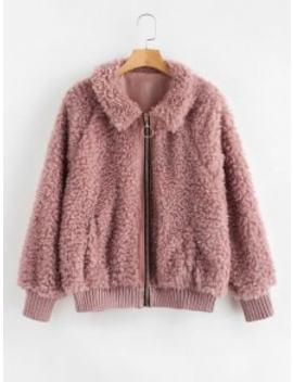 Cozy Zip Up Faux Fur Winter Coat   Lipstick Pink S by Zaful