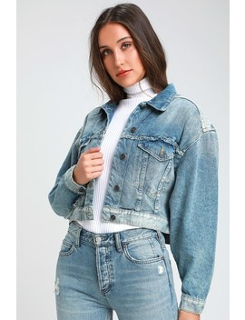 Bedford Medium Wash Distressed Cropped Denim Jacket by Free People