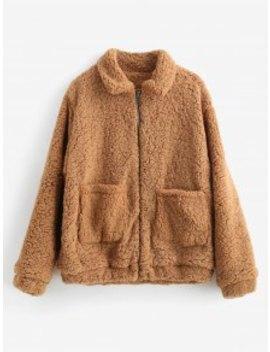 Fluffy Faux Fur Winter Teddy Coat   Tiger Orange M by Zaful