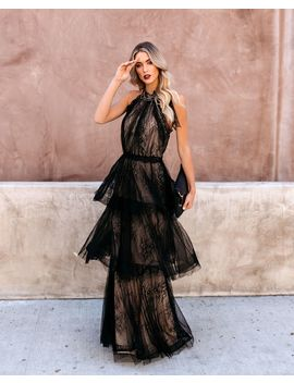 Dulce Tiered Lace Halter Maxi Gown   Black/Nude by Vici