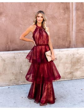 Dulce Tiered Lace Halter Maxi Gown   Wine/Nude by Vici