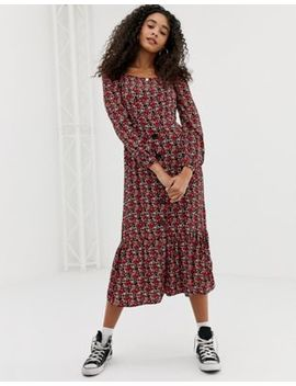 Nobody's Child Square Neck Button Front Midi Dress In Floral by Nobody's Child