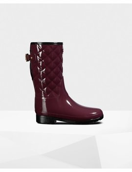 """<Span Itemprop=""""Name"""">Women's Refined Adjustable Short Quilted Gloss Rain Boots</Span>:                     <Span>Oxblood</Span> by Hunter"""