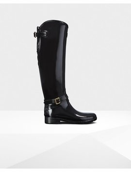 """<Span Itemprop=""""Name"""">Women's Refined Adjustable Quilted Tall Riding Boots</Span>:                     <Span>Black</Span> by Hunter"""