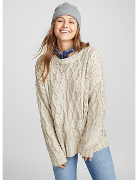 Openwork Cable Knit Sweater by Twik