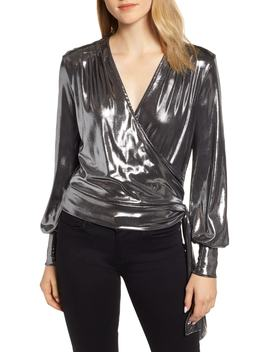 Metallic Surplice Side Tie Blouse by Chelsea28