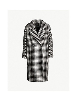 Garlone Houndstooth Wool Blend Coat by Maje