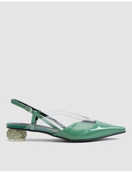Dewy Patent Slingback In Jade by Yuul Yie