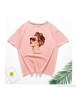 Vogue Casual Funny T Shirt Women Tops Cotton Summer T Shirt Woman Pink Yellow Black  2018 New  Round Neck Avatar Printing   by Bbwm Woman