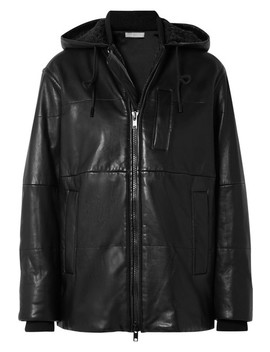 Hooded Shearling Trimmed Leather Jacket by Vince