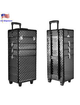4in1 Interchangeabl<Wbr>E Rolling Makeup Case Cosmetic Box Wheeled W/Key Trolley by Unbranded