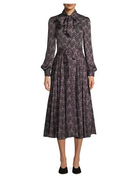 Tie Collar Long Sleeve Silk Midi Dress by Co