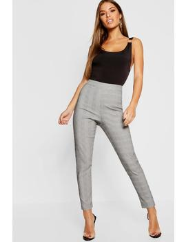 Petite Check High Waist Skinny Trouser by Boohoo