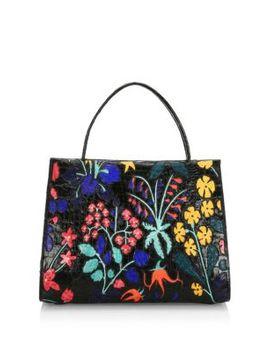 Large Wallis Floral Crocodile Top Handle Bag by Nancy Gonzalez