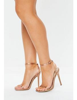 Rust Satin Skinny Barely There Heels by Missguided