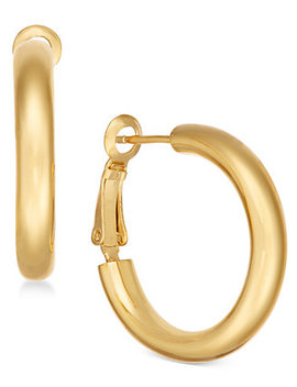 Small Polished Gold Plated Hoop Earrings by Essentials