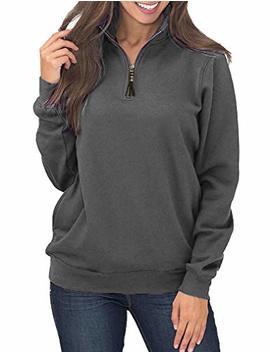 Womens Oversized Long Sleeves High Collar Quarter 1/4 Zip Fleece Pullover Sweatshirts by Queensheero