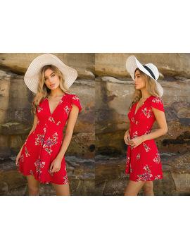 Avodovama M Women Summer Dress 2018 Sexy Mini Boho Beach Vintage Sundress Floral Print V Neck Short Sleeve Dress by Avodovama M