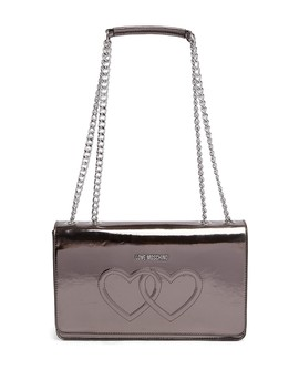 Embossed Hearts Pu Leather Shoulder Bag by Love Moschino