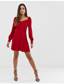 Pretty Little Thing Sweetheart Neckline Balloon Sleeve Skater Mini Dress In Red by Pretty Little Thing