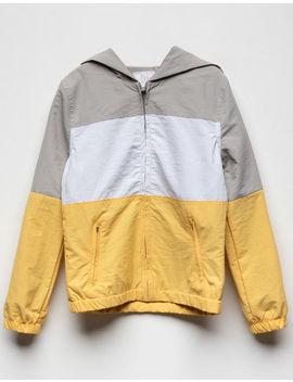 Full Tilt Color Block Yellow Girls Windbreaker Jacket by Full Tilt