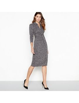 Principles   Grey Marl Print Twist Front Midi Dress by Principles