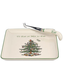 Christmas Tree Cheese Plate With Knife by Spode