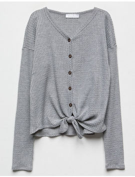 White Fawn Button Front Heather Gray Girls Thermal by White Fawn