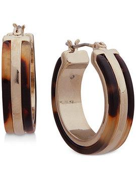Gold Tone & Tortoise Look Hoop Earrings by Lauren Ralph Lauren