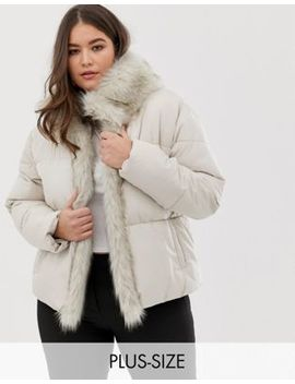 Lost Ink Plus Padded Jacket With Faux Fur Trim by Lost Ink. Plus