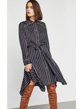 Asymmetrical Striped Satin Dress by Bcbgmaxazria
