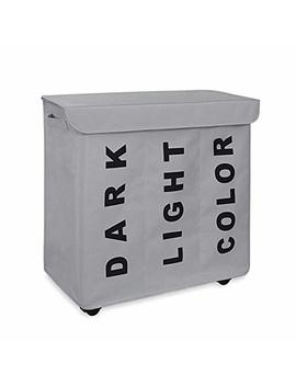Wowlive 3 Section Laundry Hamper Lid Rolling Laundry Basket Wheels Laundry Sorter Removable Dividers Waterproof Durable Dirty Clothes Organizer Storage Bin (Gray) by Wowlive