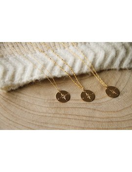 Gold Filled Gold Plated Compass Necklace by Etsy