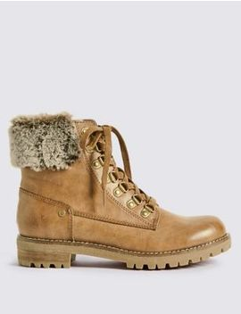 Faux Fur Hiker Ankle Boots by Tracked Express Delivery: