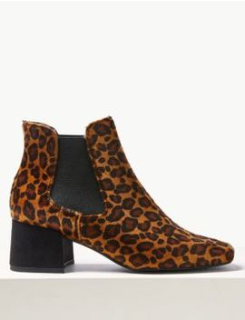 Animal Print Square Toe Chelsea Ankle Boots by Tracked Express Delivery: