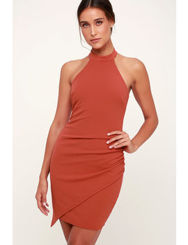 You Can't Ruche Love Marsala Ruched Bodycon Halter Dress by Lulus
