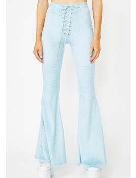 Blue Sky Action Furry Flares by Club Exx