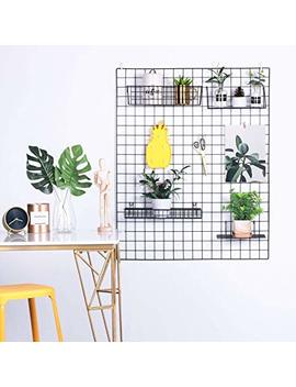 "Hosal Metal Wire Wall Grid Panel, Multifunction Photo Hanging Display And Wall Storage Organizer, Pack Of 1, Size 31.5"" X 39.4"", Black by Hosal"