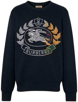 Embroidered Crest Jersey Sweatshirt by Burberry