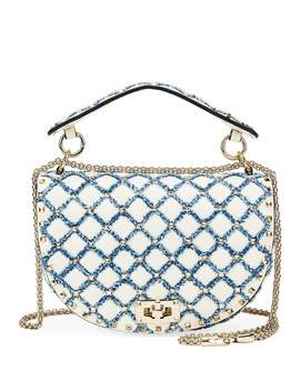 Rockstud Spike Leather And Denim Shoulder Bag by Valentino Garavani