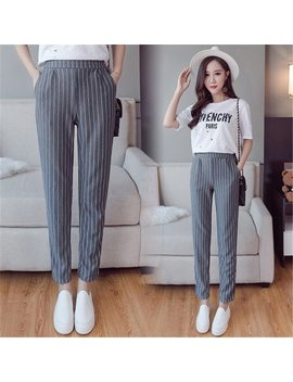 Vertical Striped Harem Pants Trousers 2018 New Spring Summer Loose Casual Elastic Waist Pants Ankle Length Pants Dropshipping by Nijiuding