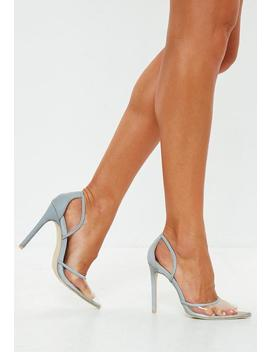 Grey Reflective Seam Clear Toe Court Heels by Missguided