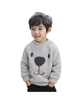 Kids Winter Clothes, Toddler Baby Boy Girl Cartoon Bear Warm Fleece Sweatshirt Coat Sweater by Vicbovo