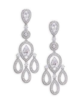 Pavé Pear Chandelier Earrings/Silvertone by Adriana Orsini