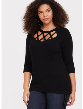 Black Cage Front Pullover by Torrid