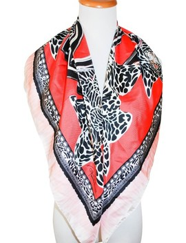 Red Multicolor 34x34' Silk Italy Women Squ Scarf/Wrap by Roberto Cavalli